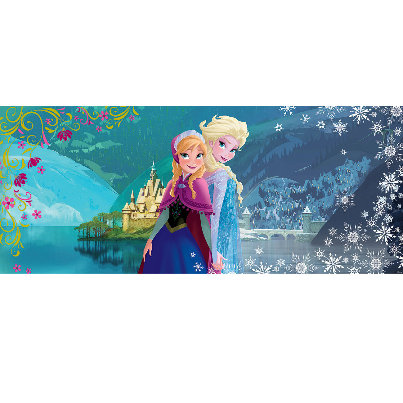frozen reine des neiges poster panoramique papier peint 250 x 104 cm elsa et anna. Black Bedroom Furniture Sets. Home Design Ideas
