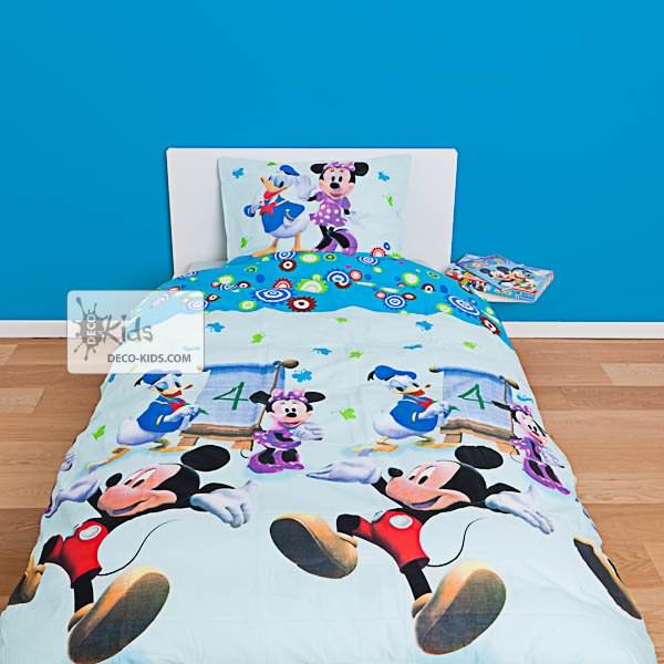 housse de couette mickey 140 x 200 cm parure de lit decokids. Black Bedroom Furniture Sets. Home Design Ideas