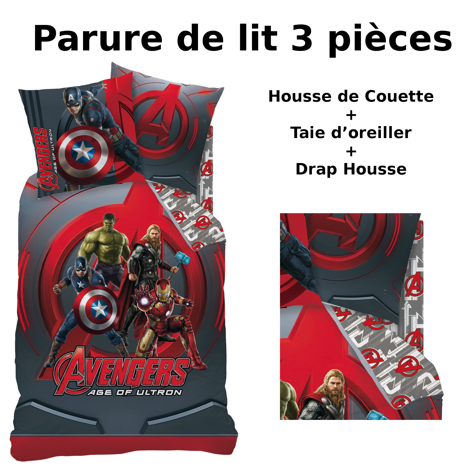 avengers parure de lit 3pcs housse de couette taie d 39 oreiller drap housse league. Black Bedroom Furniture Sets. Home Design Ideas
