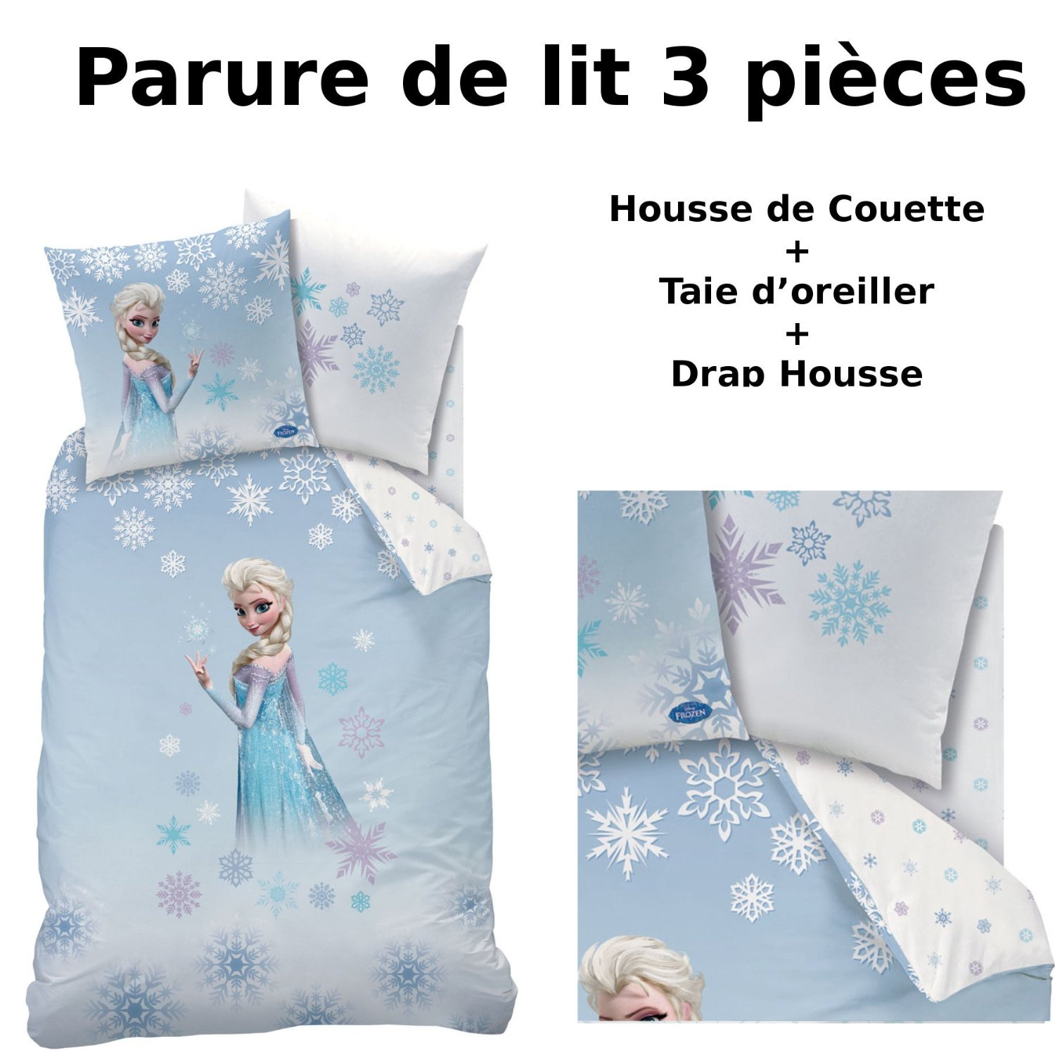 reine des neiges parure de lit 3pcs housse de. Black Bedroom Furniture Sets. Home Design Ideas