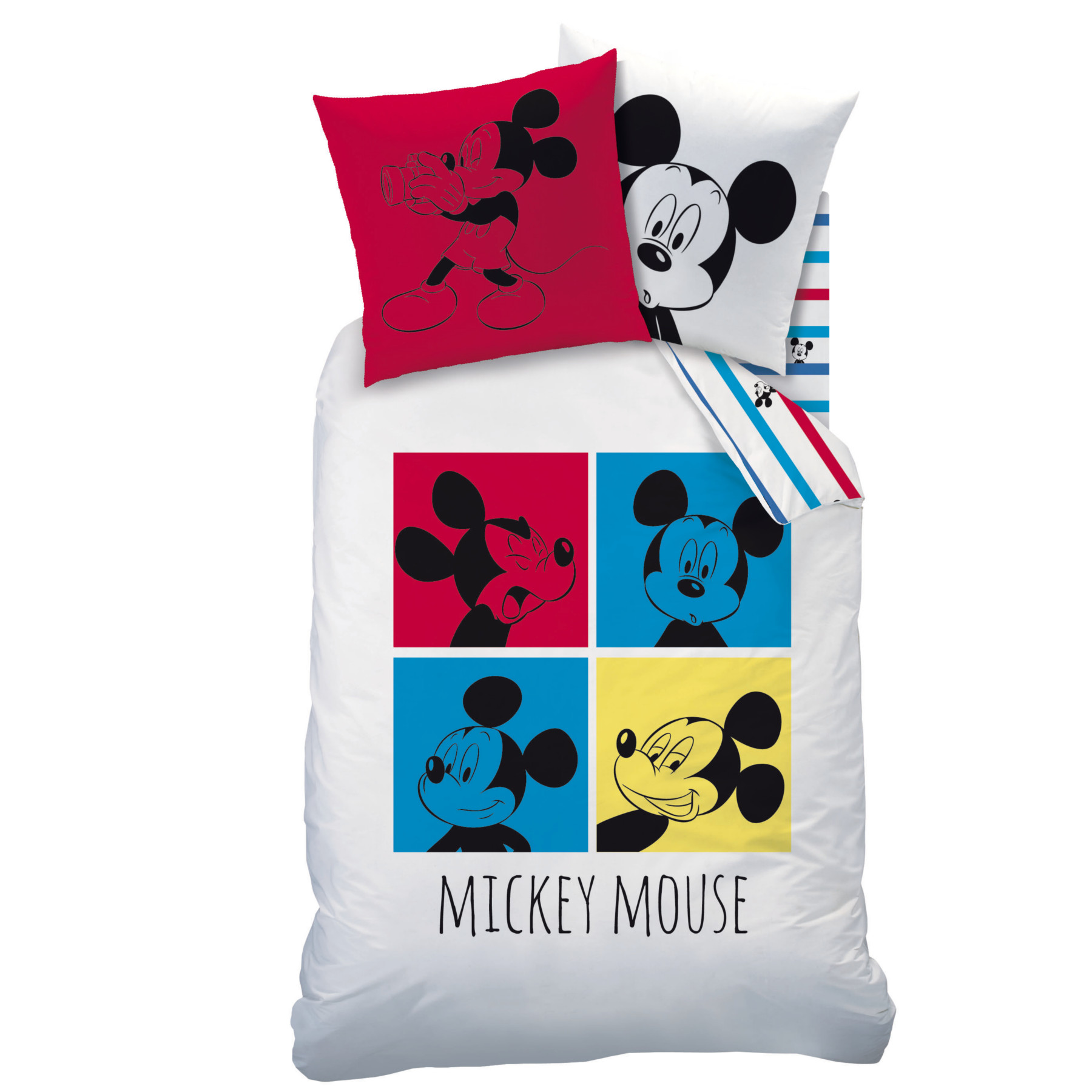 Mickey photomaton parure 140 x 200 coton r f for Housse de couette winnie