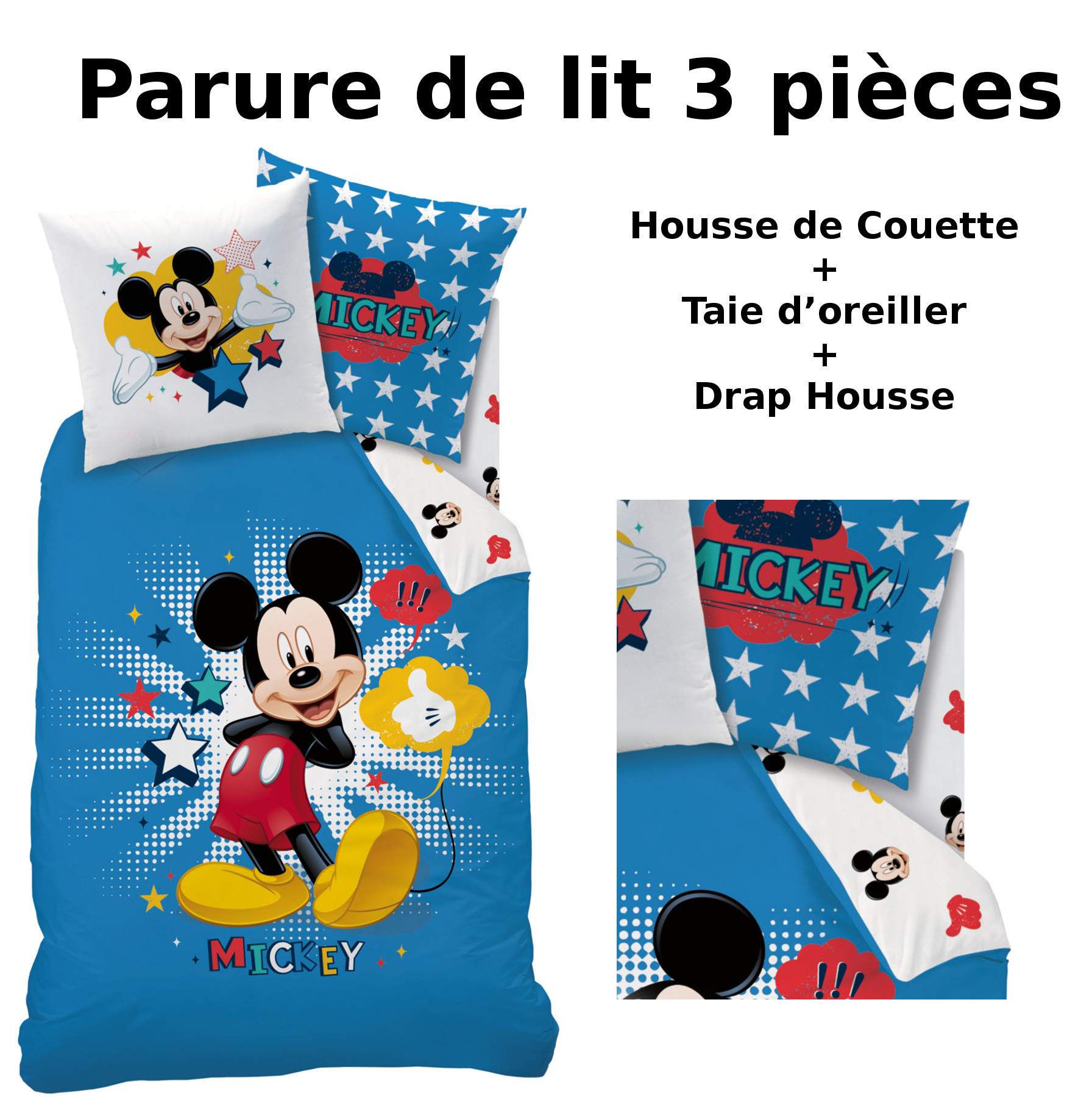 mickey parure de lit 3pcs housse de couette taie d 39 oreiller drap housse star. Black Bedroom Furniture Sets. Home Design Ideas