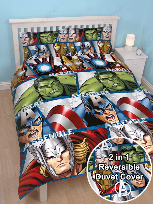 avengers parure de lit housse de couette taie d. Black Bedroom Furniture Sets. Home Design Ideas