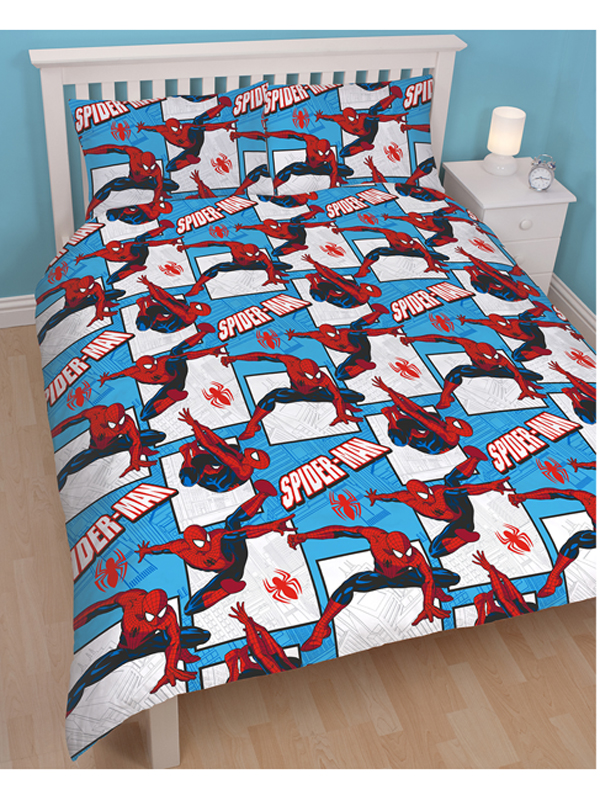 spiderman housse de couette parure de lit r versible 200 x 200 cm spiderman decokids. Black Bedroom Furniture Sets. Home Design Ideas