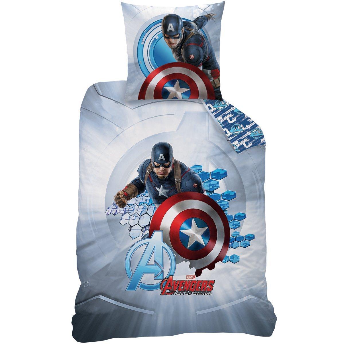 avengers captain america parure 140 x 200 coton r f ave432170 avengers decokids tous. Black Bedroom Furniture Sets. Home Design Ideas