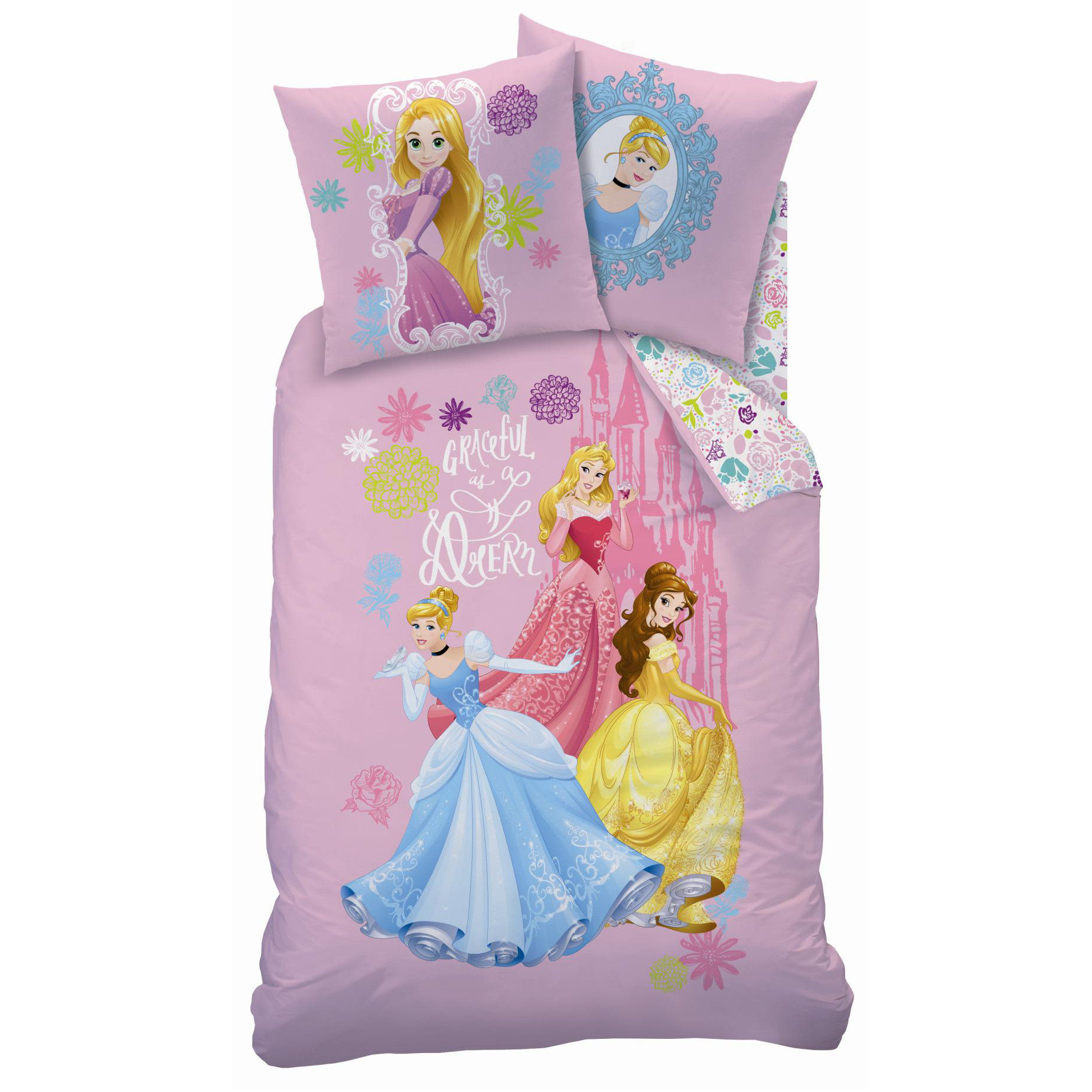 princesses graceful parure 140 x 200 plc r f dpr432514 disney princesses decokids. Black Bedroom Furniture Sets. Home Design Ideas