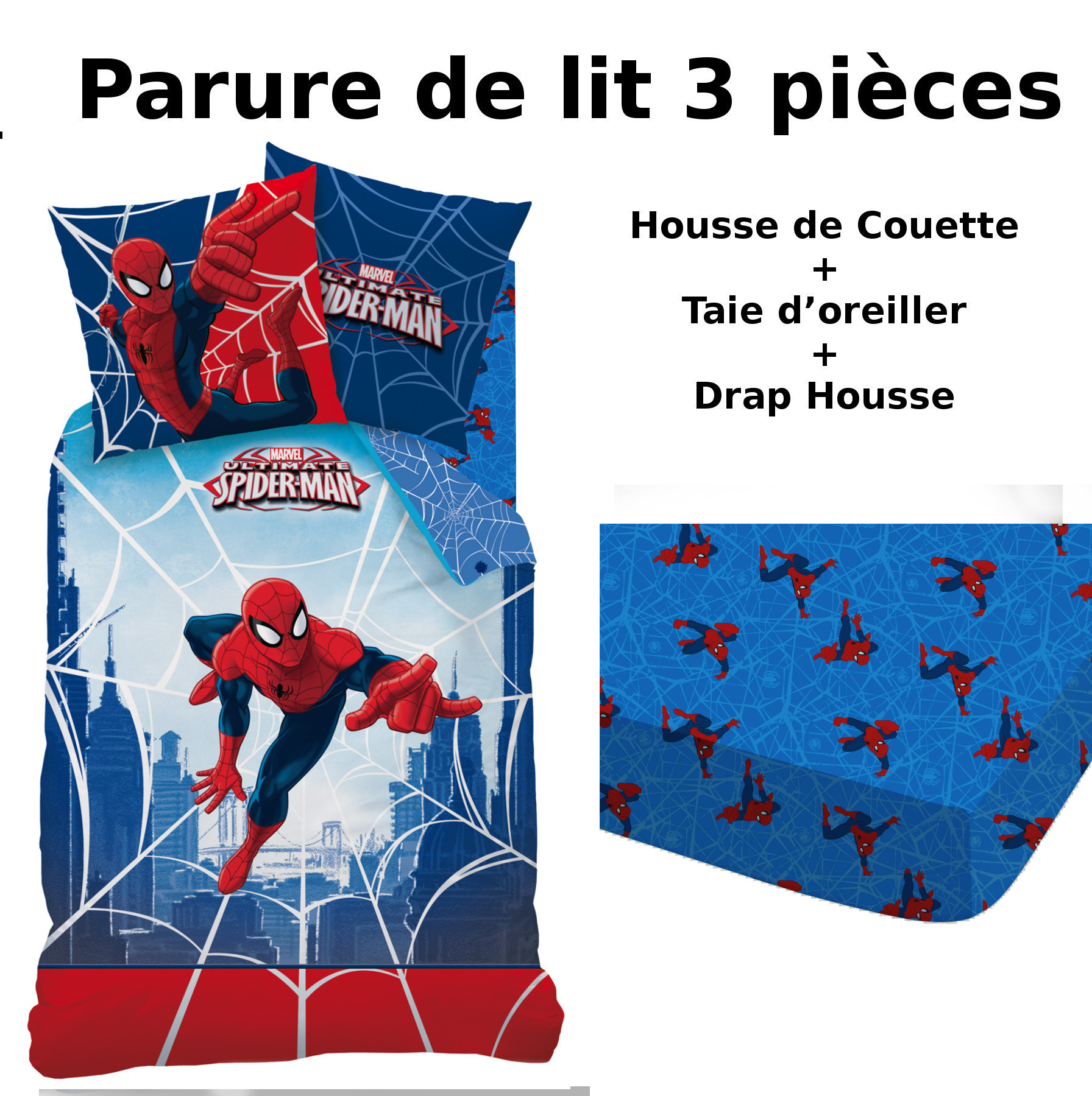 spiderman parure de lit 3pcs housse de couette taie d 39 oreiller drap housse web plc. Black Bedroom Furniture Sets. Home Design Ideas