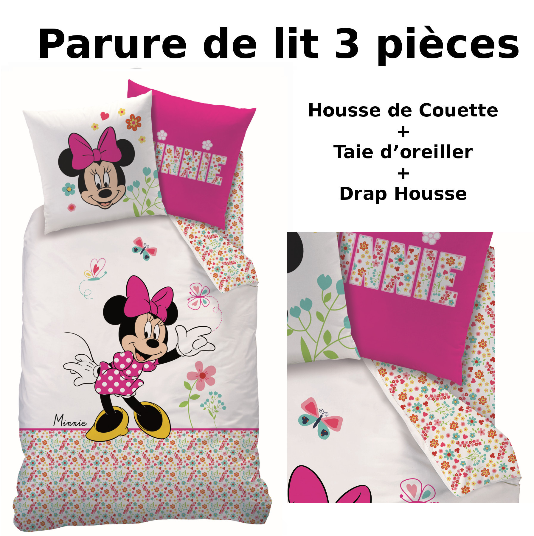minnie parure de lit 3pcs housse de couette taie d. Black Bedroom Furniture Sets. Home Design Ideas