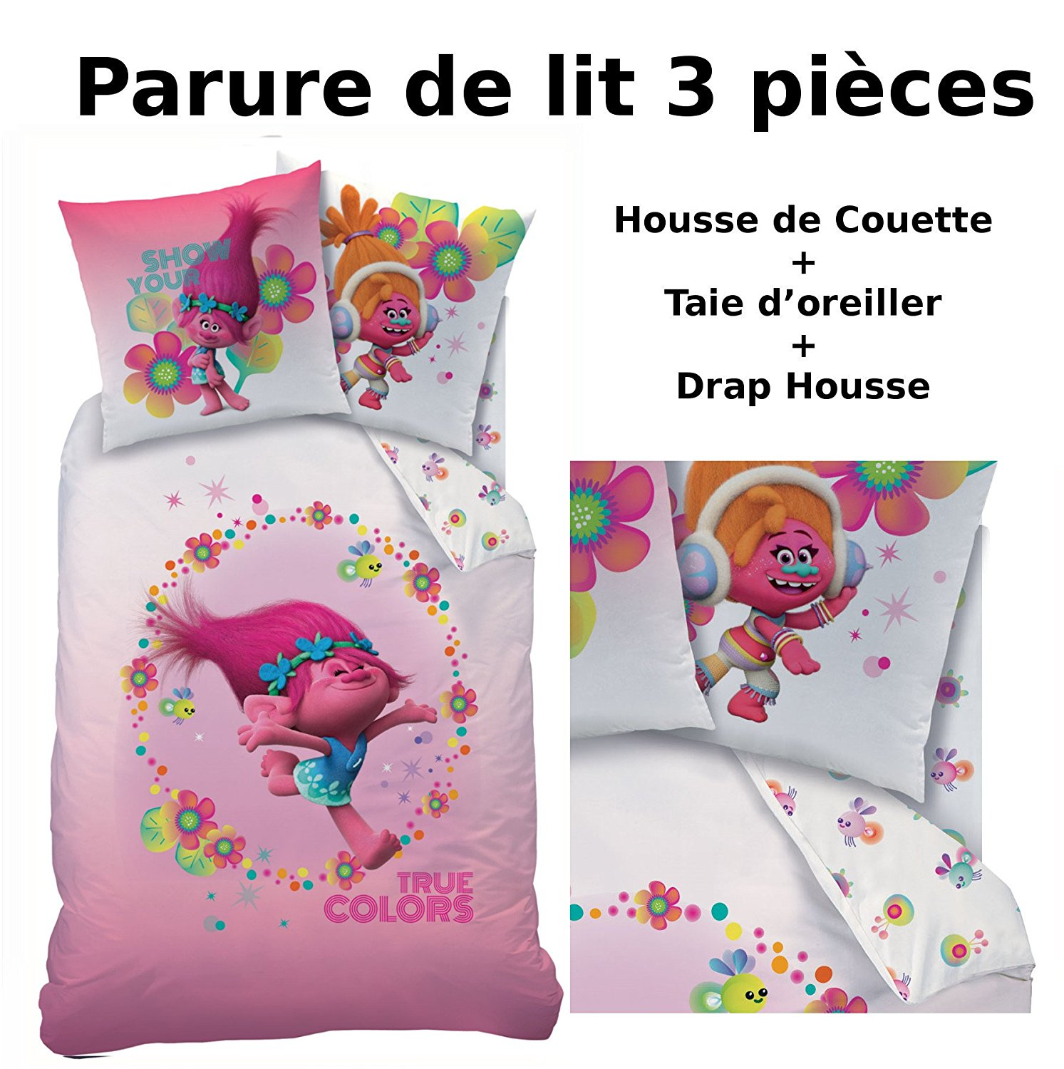 trolls parure de lit 3pcs housse de couette taie d 39 oreiller drap housse true colors. Black Bedroom Furniture Sets. Home Design Ideas