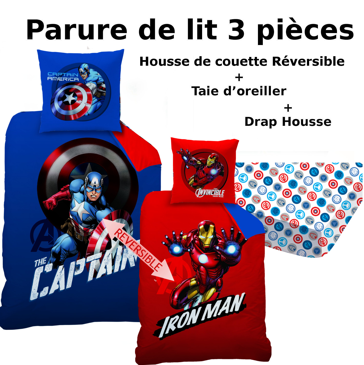 cool avengers parure de lit pcs housse de couette taie du with housse de couette 220x240 smiley. Black Bedroom Furniture Sets. Home Design Ideas