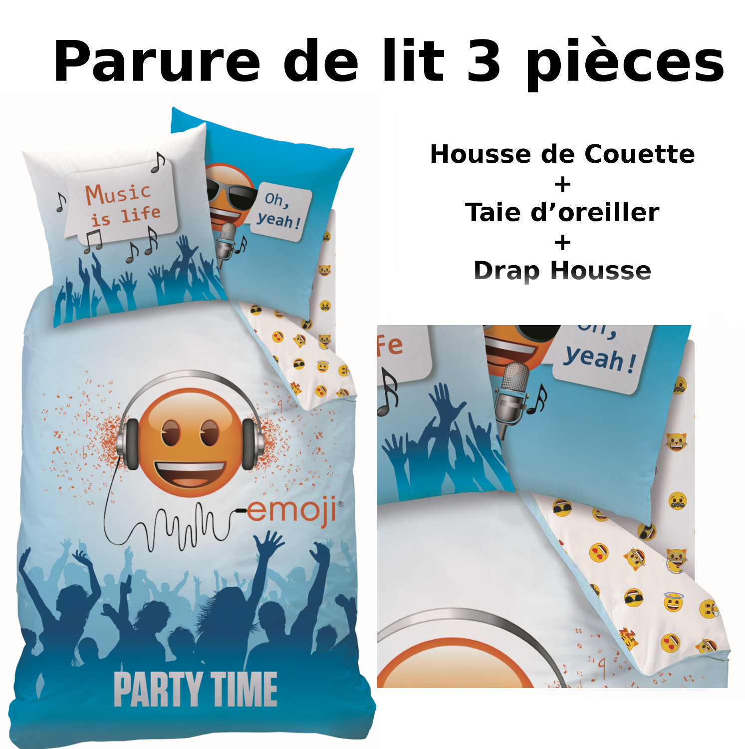emoji parure de lit 3pcs housse de couette taie d 39 oreiller drap housse smiley party. Black Bedroom Furniture Sets. Home Design Ideas