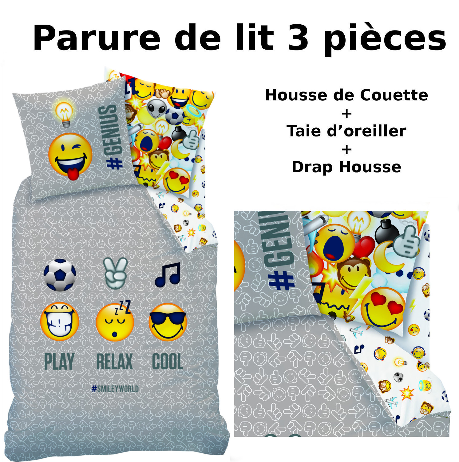 emoji parure de lit 3pcs housse de couette taie d 39 oreiller drap housse smiley. Black Bedroom Furniture Sets. Home Design Ideas