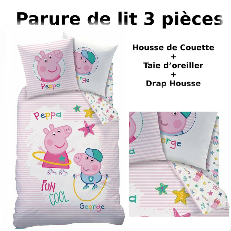 peppa pig parure de lit 3pcs housse de couette taie d 39 oreiller drap housse. Black Bedroom Furniture Sets. Home Design Ideas