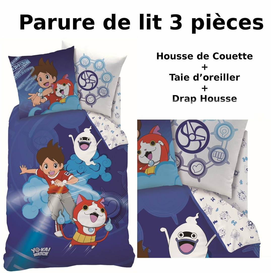 yo kai watch gang parure de lit 3pcs housse de couette taie d 39 oreiller drap housse. Black Bedroom Furniture Sets. Home Design Ideas
