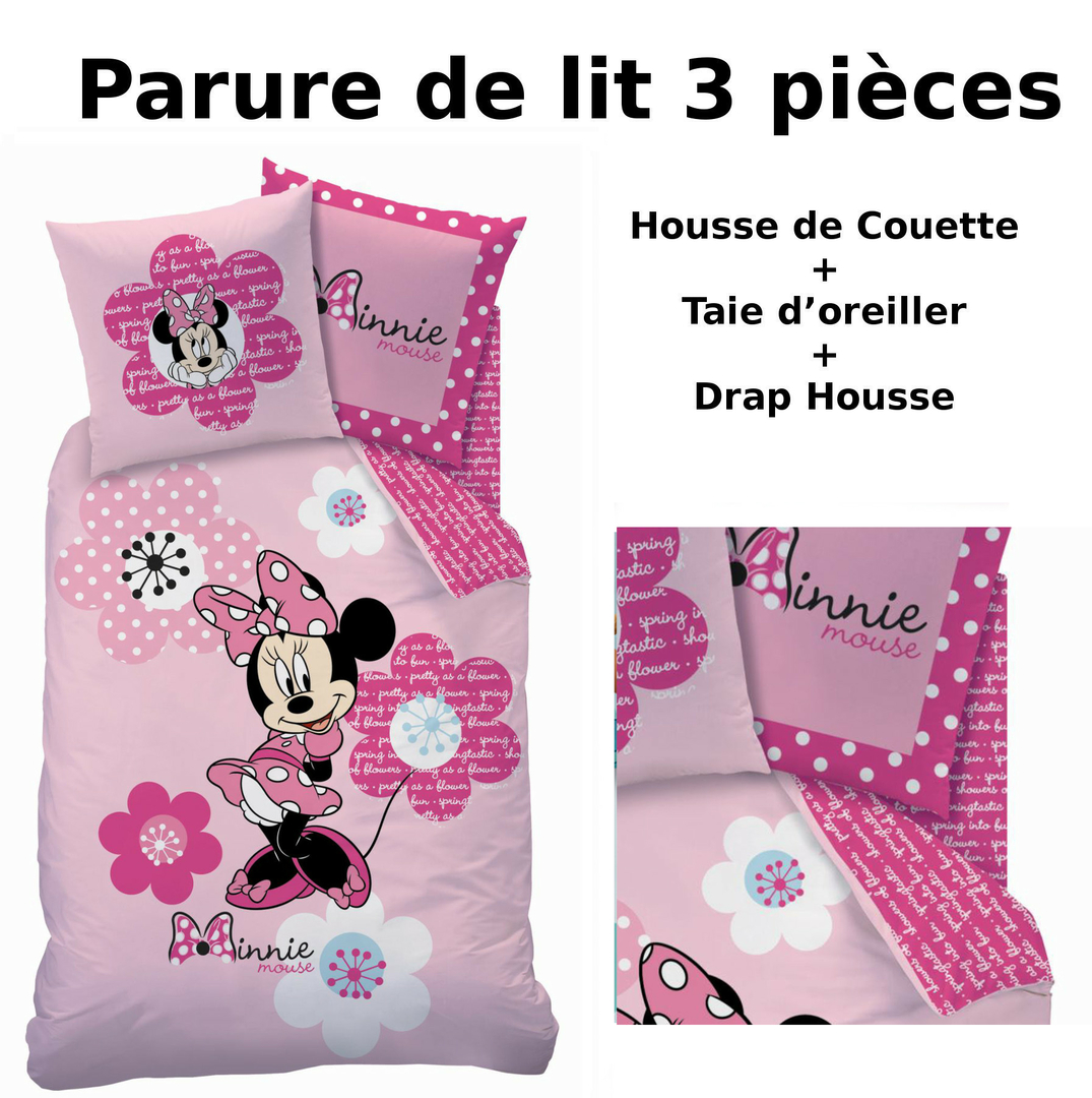 minnie parure de lit 3pcs housse de couette taie d 39 oreiller drap housse pink flowers. Black Bedroom Furniture Sets. Home Design Ideas