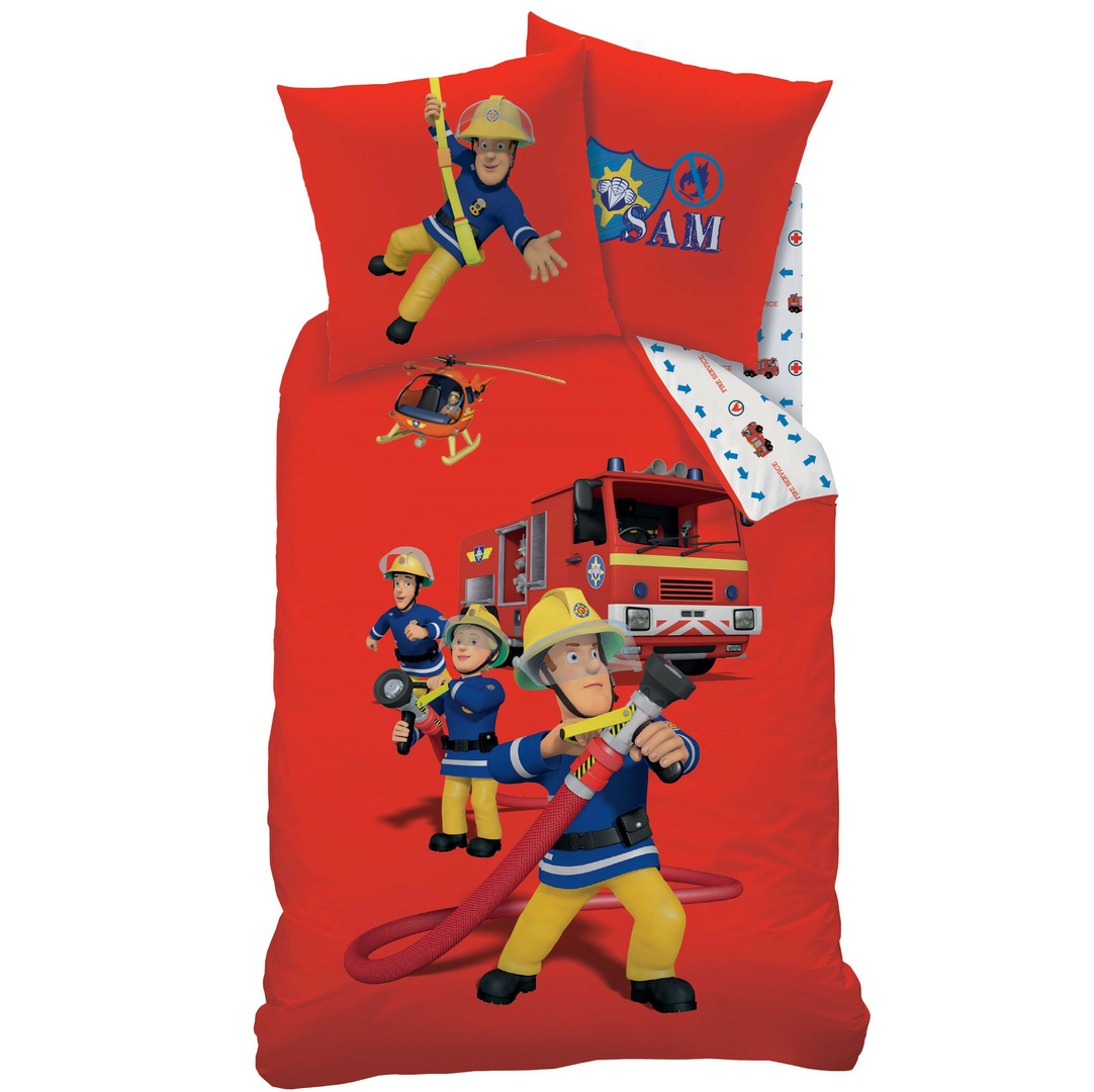 sam le pompier parure de lit housse de couette 140 x 200 cm fireman sam plc sam le. Black Bedroom Furniture Sets. Home Design Ideas