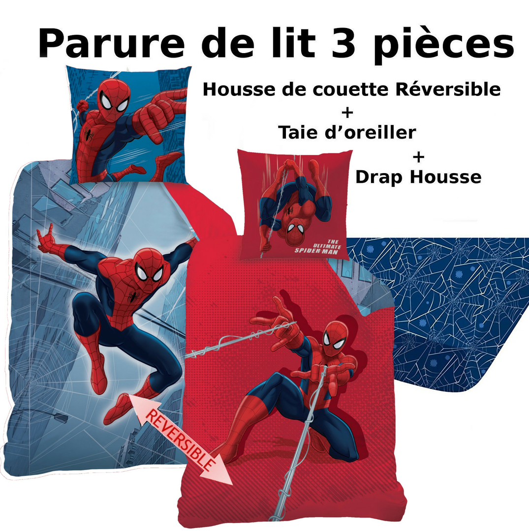 spiderman parure de lit 3pcs housse de couette taie d 39 oreiller drap housse tower. Black Bedroom Furniture Sets. Home Design Ideas