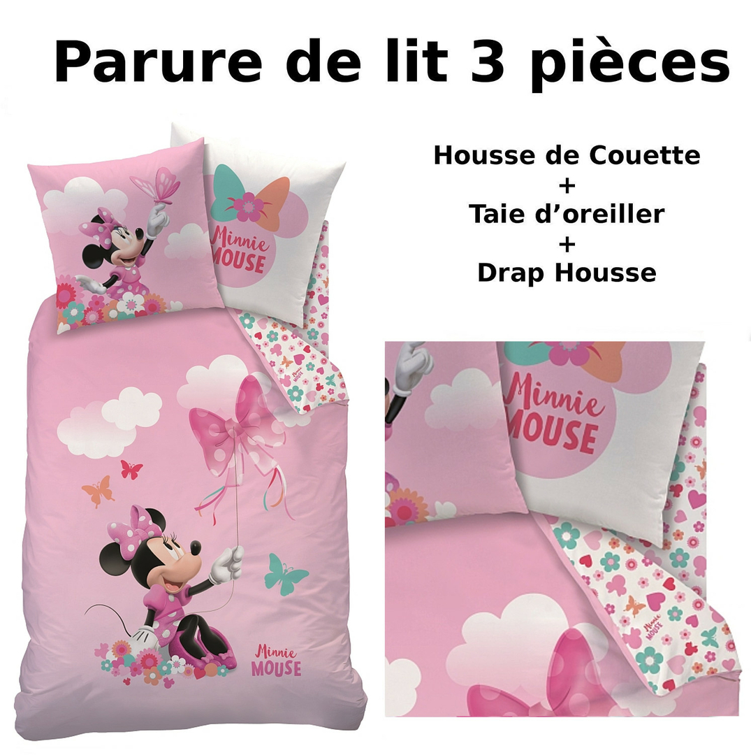 minnie parure de lit 3pcs housse de couette taie d 39 oreiller drap housse papillon. Black Bedroom Furniture Sets. Home Design Ideas