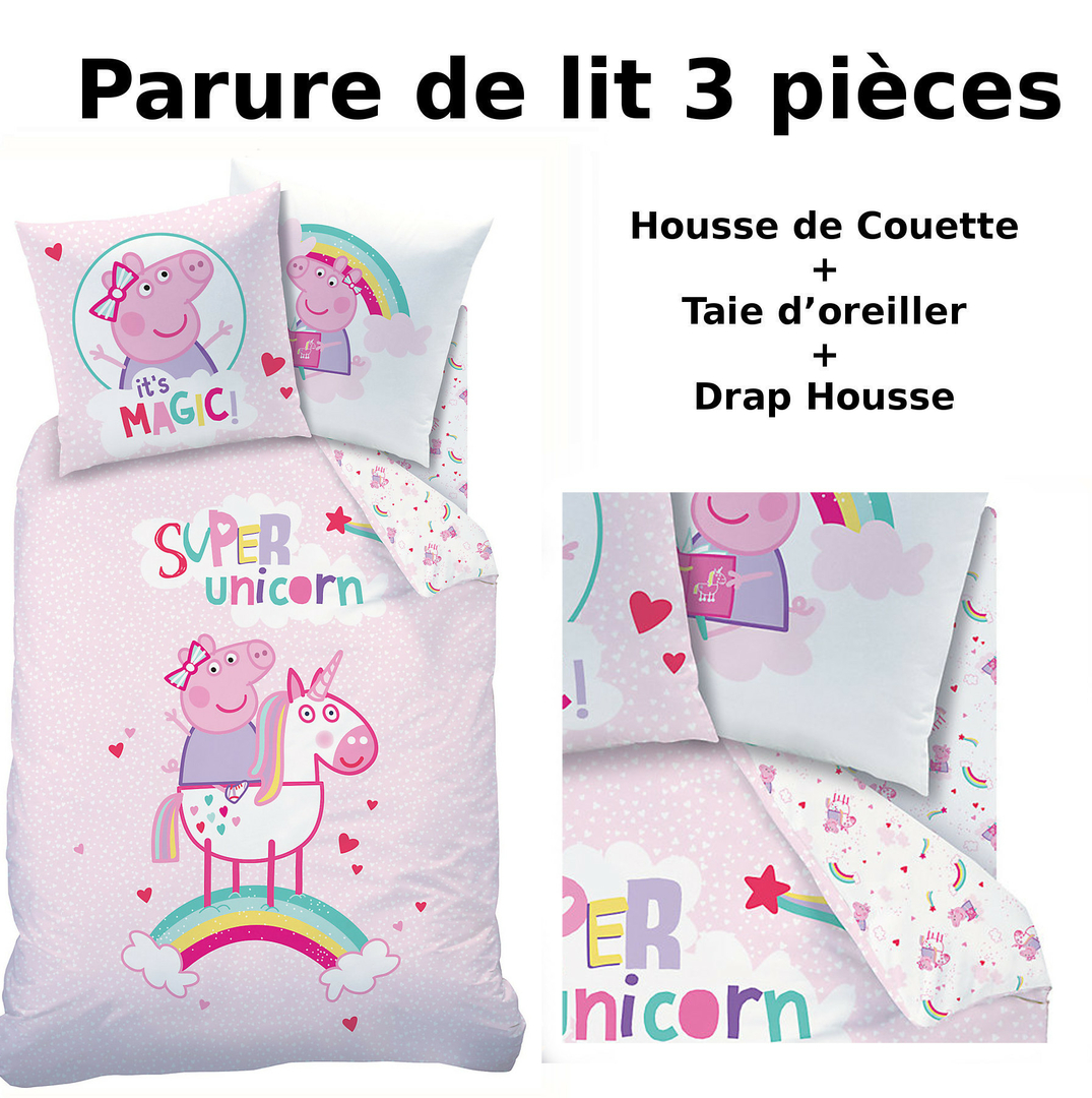 peppa pig parure de lit 3pcs housse de couette taie d 39 oreiller drap housse licorne. Black Bedroom Furniture Sets. Home Design Ideas