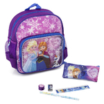 REINE DES NEIGES -Kit for School (3Pcs) - Cartable/Sac à dos mauve 30 cm + Trousse + Set écriture - Frozen