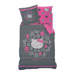 """HELLO KITTY - Housse de couette - Parure de lit  - 140 x 200 cm - """" Rosa """" (gris/noire)"""