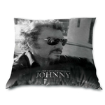 "Johnny Halliday - Coussin 40 x 40 cm - "" ...Quelque chose de Johnny"""