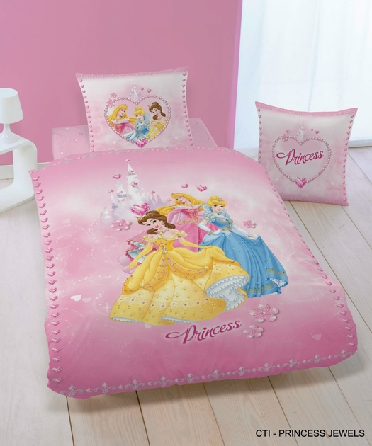 housse de couett disney princesse 140 x 200 cm parure de lit princess jewels decokids. Black Bedroom Furniture Sets. Home Design Ideas