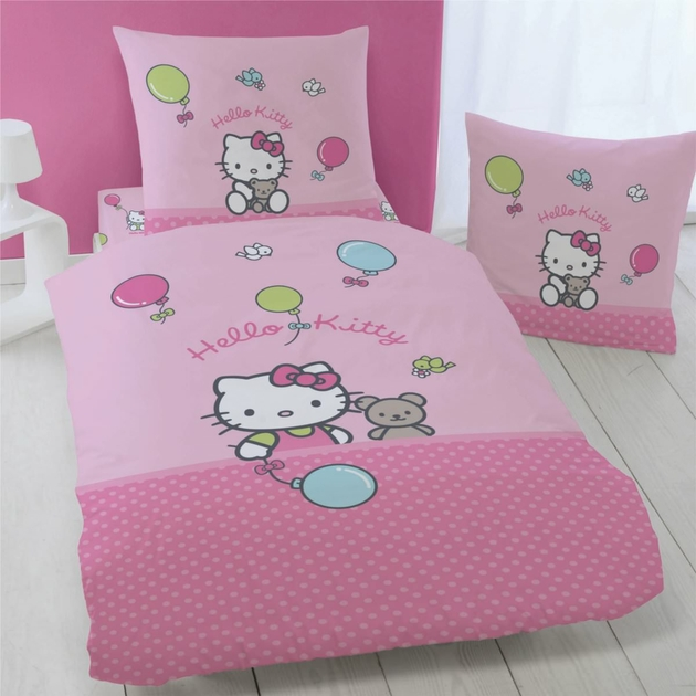 housse de couette hello kitty 140 x 200 cm parure de lit luna d cokids. Black Bedroom Furniture Sets. Home Design Ideas