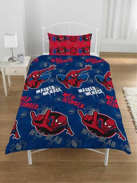 housse de couette spiderman 140 x 200 cm parure de lit masked menace decokids. Black Bedroom Furniture Sets. Home Design Ideas