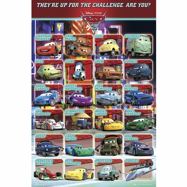 poster cars 2 personnages de disney 61 x 91 cm decokids. Black Bedroom Furniture Sets. Home Design Ideas