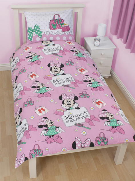 minnie parure de lit housse de couette 140 x 200 cm makeover minnie decokids tous. Black Bedroom Furniture Sets. Home Design Ideas