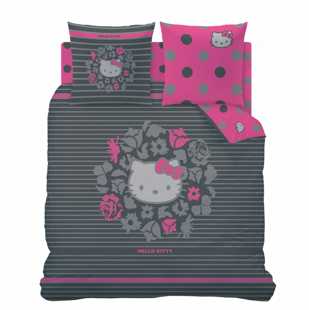 hello kitty housse de couette parure de lit 220 x 240 cm rosa gris noire hello. Black Bedroom Furniture Sets. Home Design Ideas