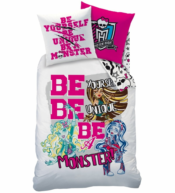Housse de couette monster high 140 x 200 cm be unique - Parure de lit monster high 2 personnes ...