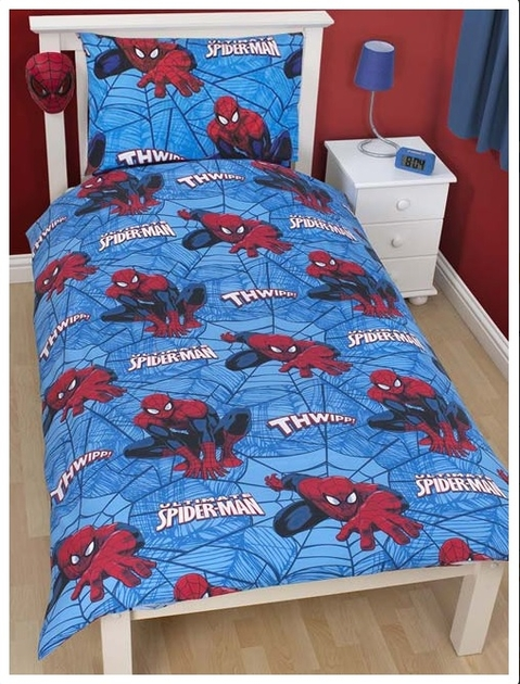 spiderman housse de couette parure de lit 1 personne 135 x 200 cm 39 city 39 spiderman. Black Bedroom Furniture Sets. Home Design Ideas