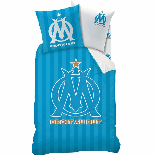 housse de couette om parure de lit r versible 140 x 200 cm logo olympique marseille. Black Bedroom Furniture Sets. Home Design Ideas