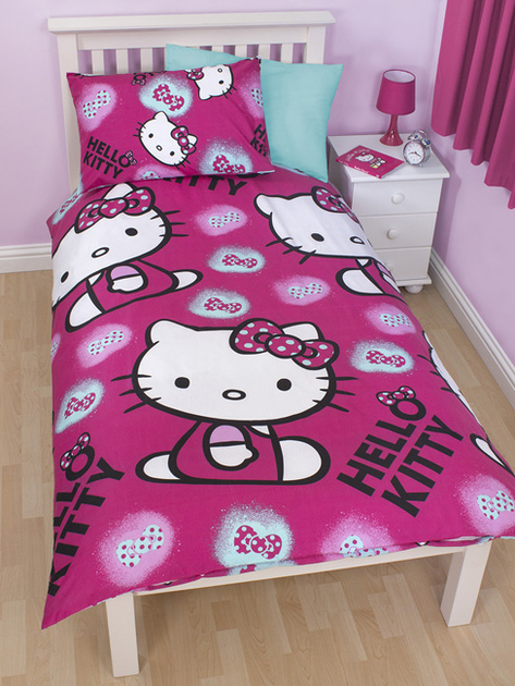 hello kitty parure de lit r versible housse de couette. Black Bedroom Furniture Sets. Home Design Ideas