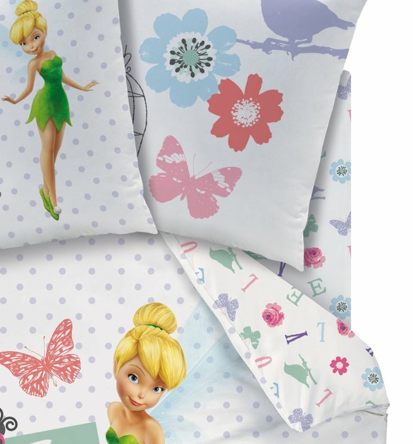 drap housse f e clochette disney fairies 90 x 190 cm jardin des f es et rossignol. Black Bedroom Furniture Sets. Home Design Ideas