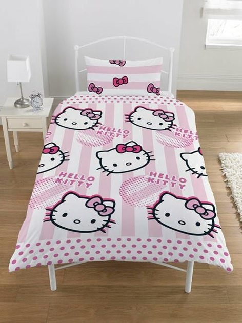 housse de couette hello kitty 140 x 200 cm parure de lit candy stripes decokids. Black Bedroom Furniture Sets. Home Design Ideas