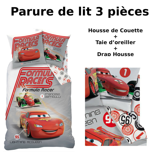 disney cars parure de lit 3pcs housse de couette. Black Bedroom Furniture Sets. Home Design Ideas