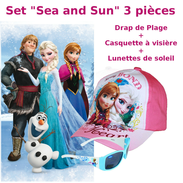 reine des neiges set sea and sun 3pcs serviette drap de plage bain lunettes casquette. Black Bedroom Furniture Sets. Home Design Ideas