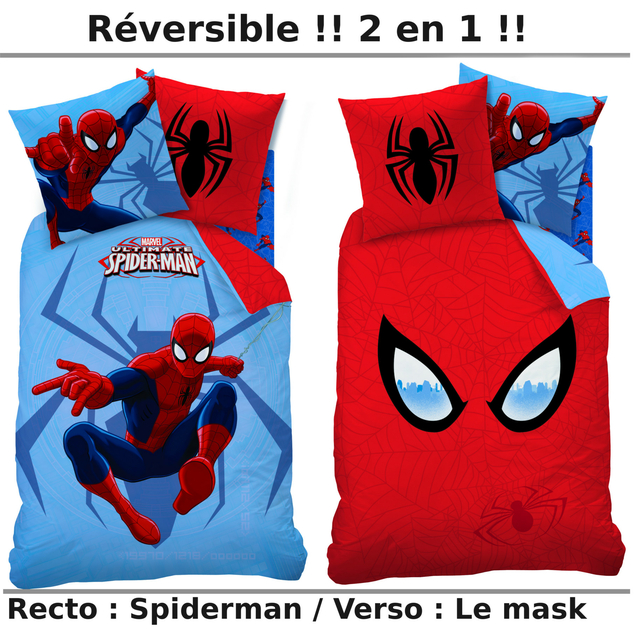 spiderman mask parure 140 x 200 coton r f. Black Bedroom Furniture Sets. Home Design Ideas