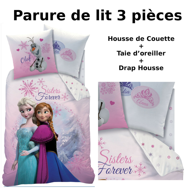 reine des neiges parure de lit 3pcs housse de couette taie d 39 oreiller drap housse. Black Bedroom Furniture Sets. Home Design Ideas