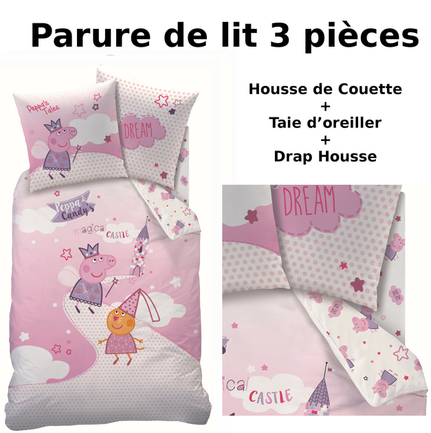 peppa pig parure de lit 3pcs housse de couette taie d 39 oreiller drap housse fairytale. Black Bedroom Furniture Sets. Home Design Ideas