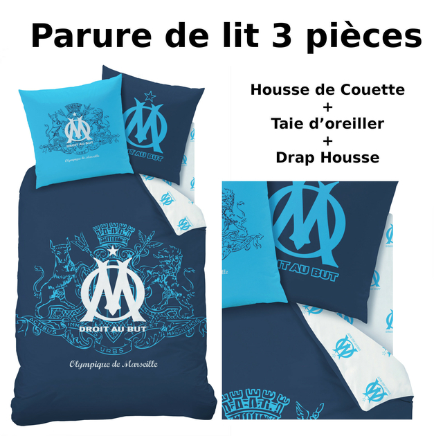 om parure de lit 3pcs housse de couette taie d 39 oreiller drap housse blason olympique. Black Bedroom Furniture Sets. Home Design Ideas