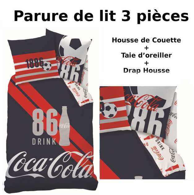 coca cola parure de lit 3pcs housse de couette taie d 39 oreiller drap housse sport. Black Bedroom Furniture Sets. Home Design Ideas