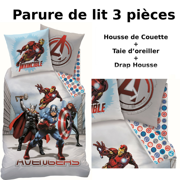 avengers parure de lit 3pcs housse de couette taie d 39 oreiller drap housse city. Black Bedroom Furniture Sets. Home Design Ideas