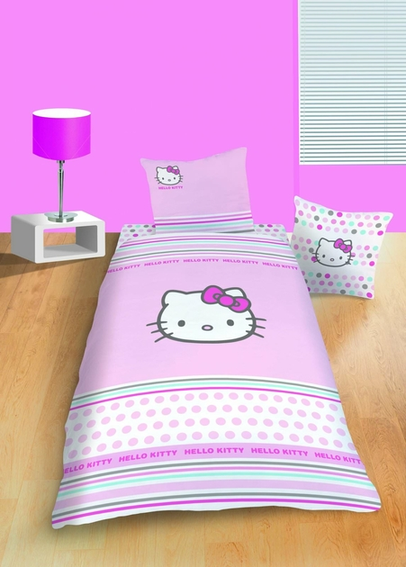 Housse de couette hello kitty 140 x 200 cm parure de lit new pretty decokids - Conforama lit hello kitty ...