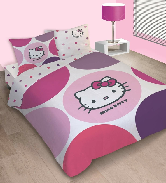 housse de couette hello kitty 240 x 220 cm parure de lit prune decokids. Black Bedroom Furniture Sets. Home Design Ideas