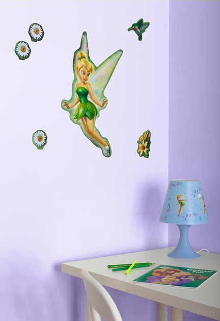 4 stickers 3d f e clochette 45 cm de hauteur fairies f e clochette decokids tous leurs h ros. Black Bedroom Furniture Sets. Home Design Ideas