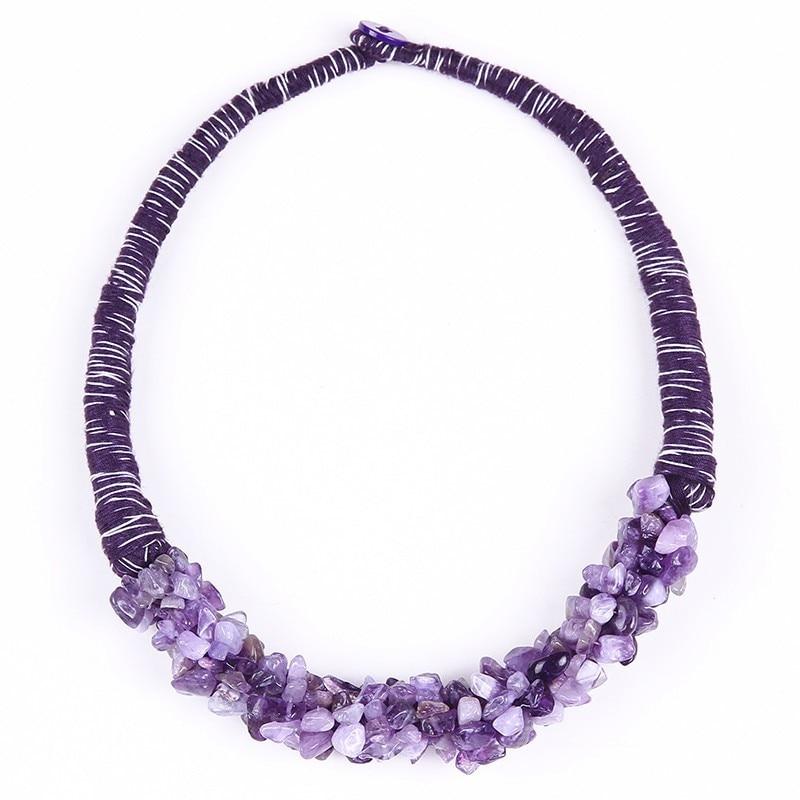 Collier ethnique en pierres naturelles - quartz violet -  VRAL